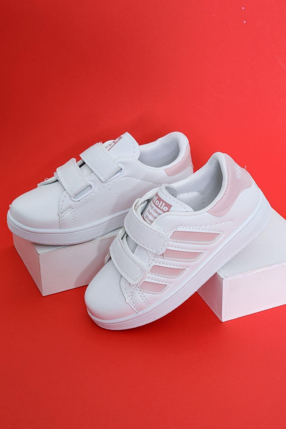 Aymeravm Unisex Çocuk Beyaz  Şeritli Ayakkabı 1
