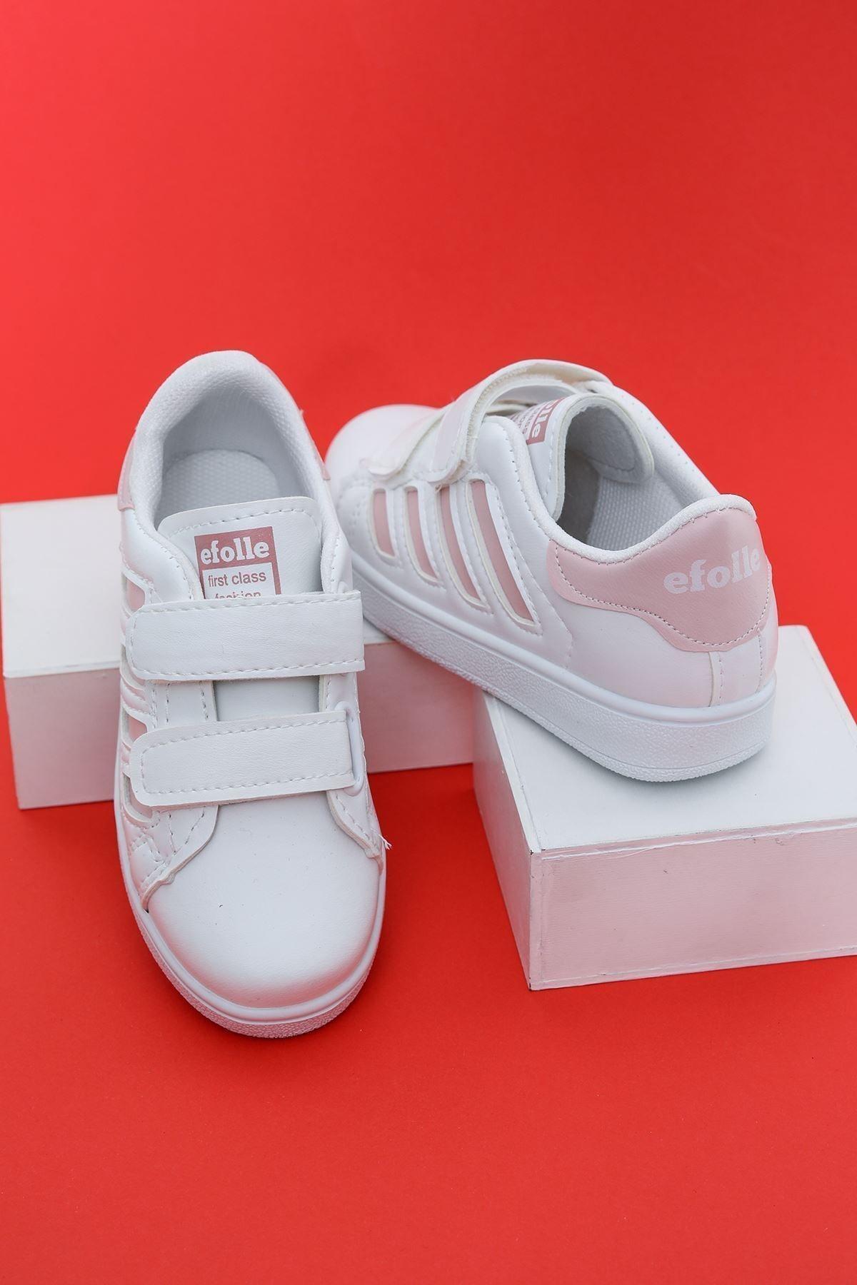 Aymeravm Unisex Çocuk Beyaz  Şeritli Ayakkabı 2