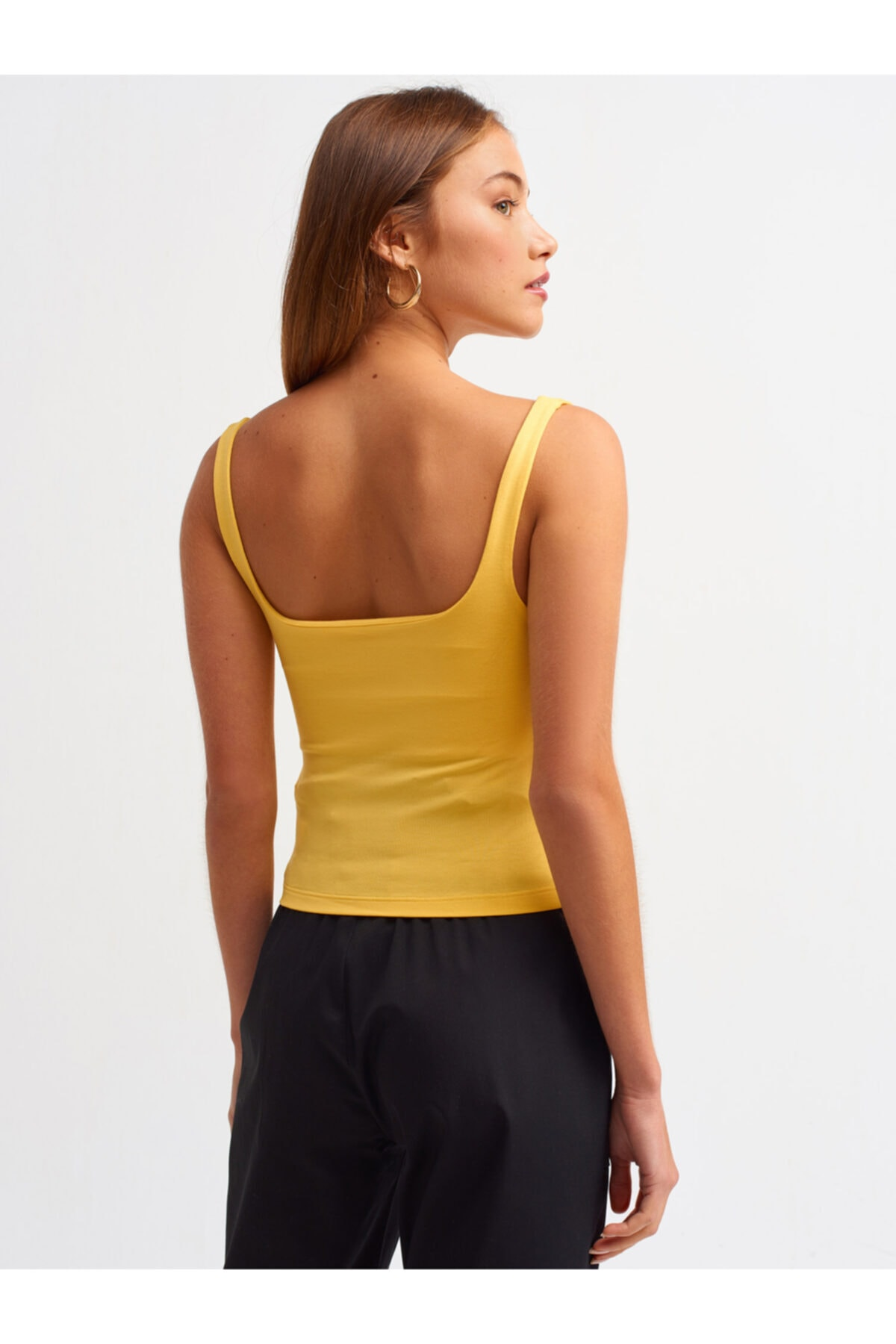 Dilvin 3562 Sıfır Kol Büzgü Detay T-shirt-sarı 2