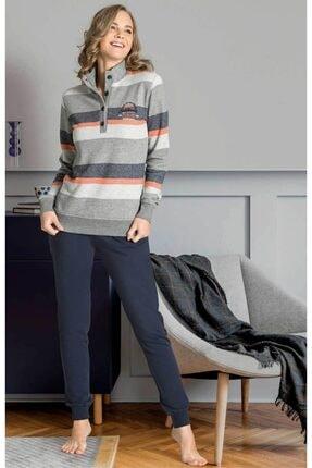 Poleren Kadın Lacivert Pijama