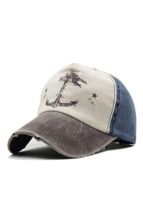 DMONA Gri Mavi Denizci Çapa Eskitme Balıkçı Şapka