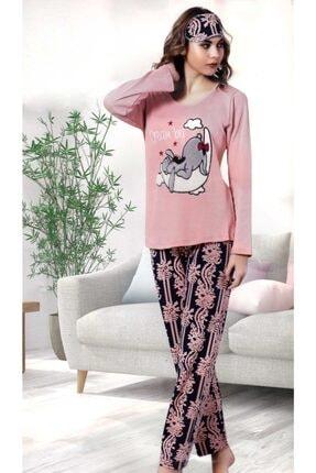Çekmece Kadın Pembe Desenli Uzun Kol Pamuklu Pijama Takım 2757