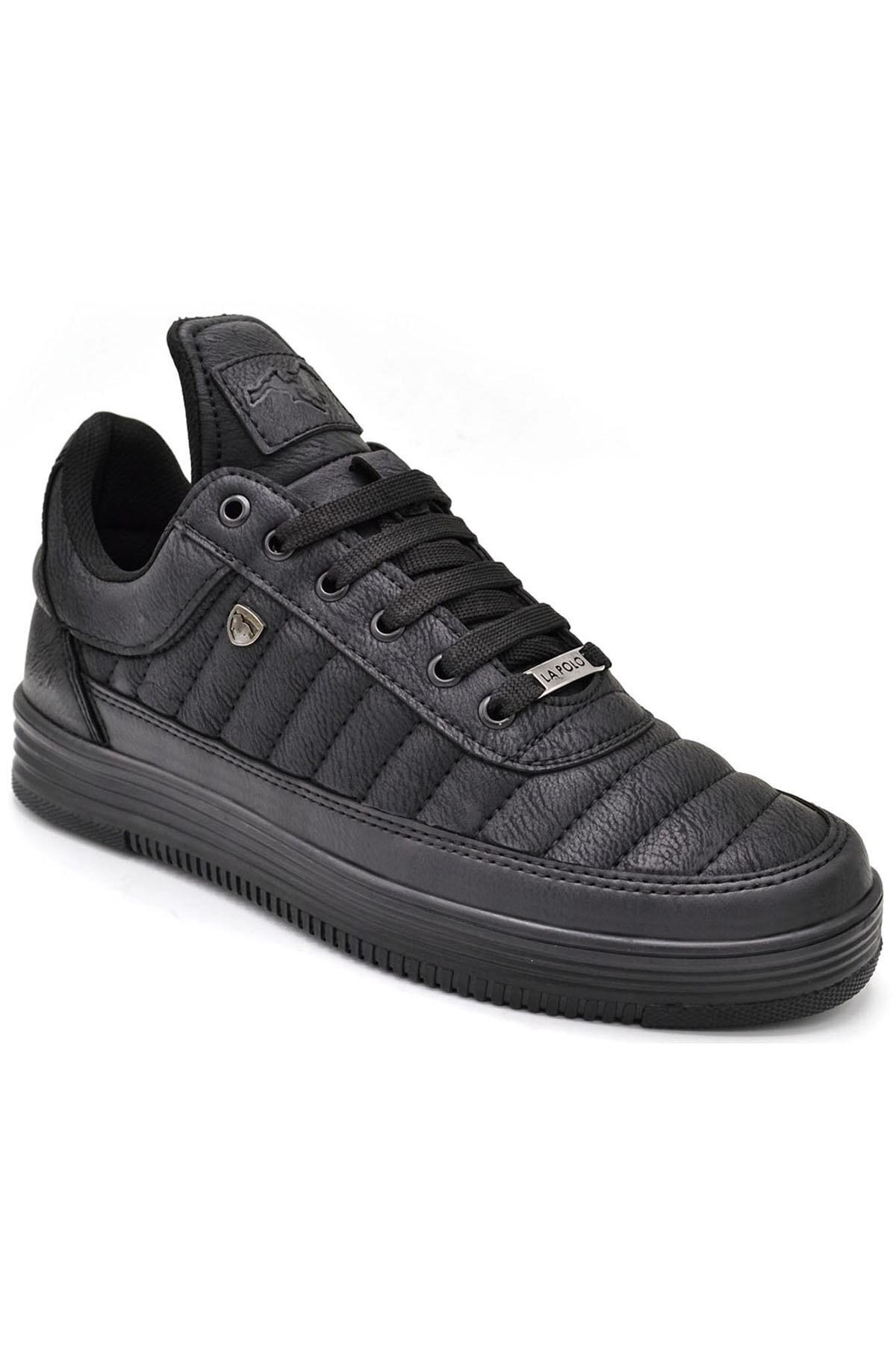 L.A Polo 07 Siyah Siyah Dikişli Taban Unisex Spor Ayakkabı 1