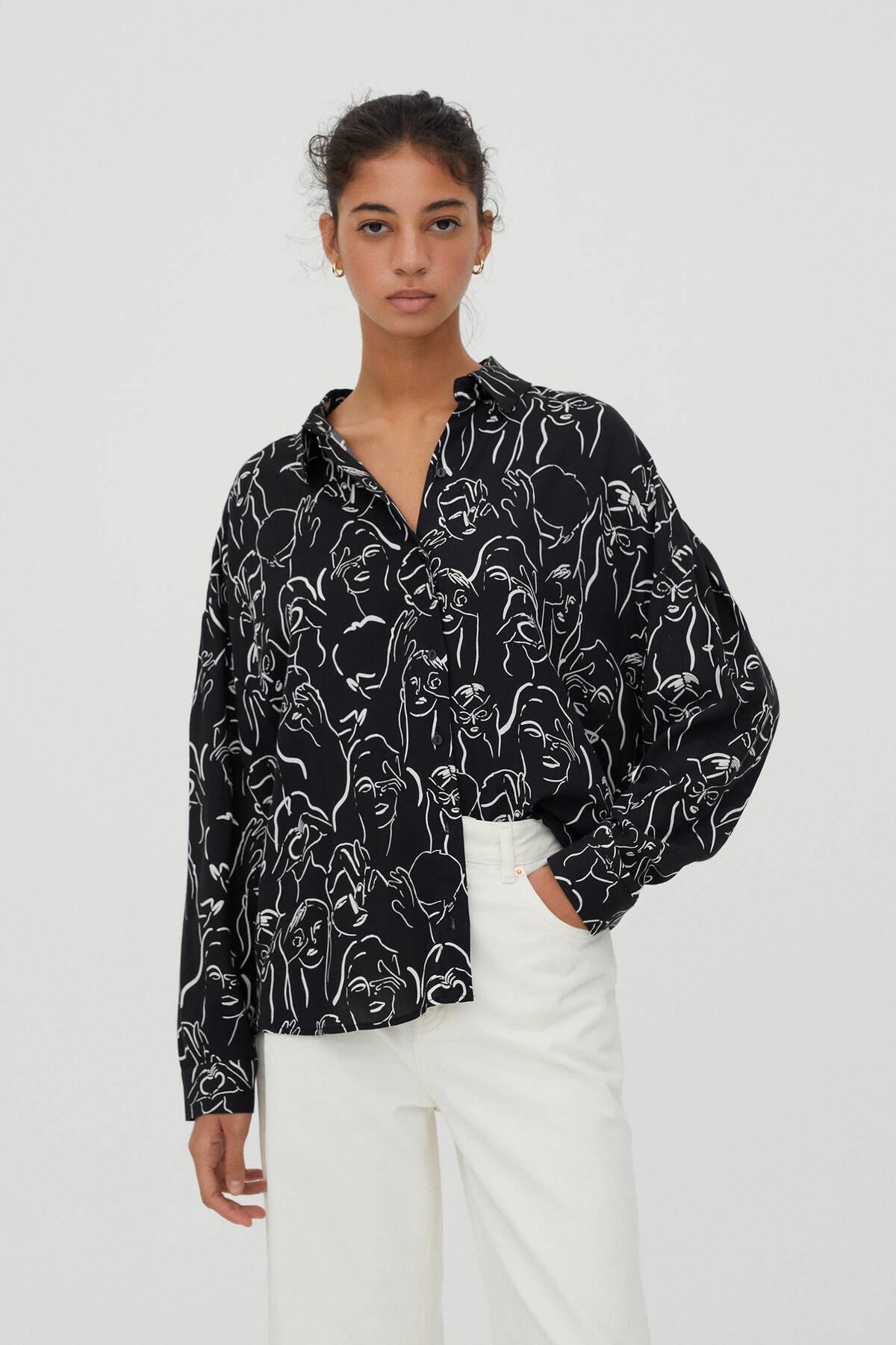 Pull & Bear Kadın Siyah Yüz Desenli Gömlek 1