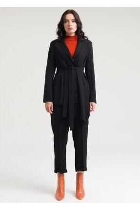 Armağan Kadın Siyah Kemerli Kruvaze Pantolonlu Takım