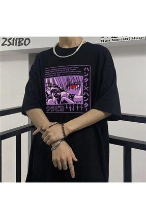 Köstebek Unisex Siyah Anime Baskılı T-shirt