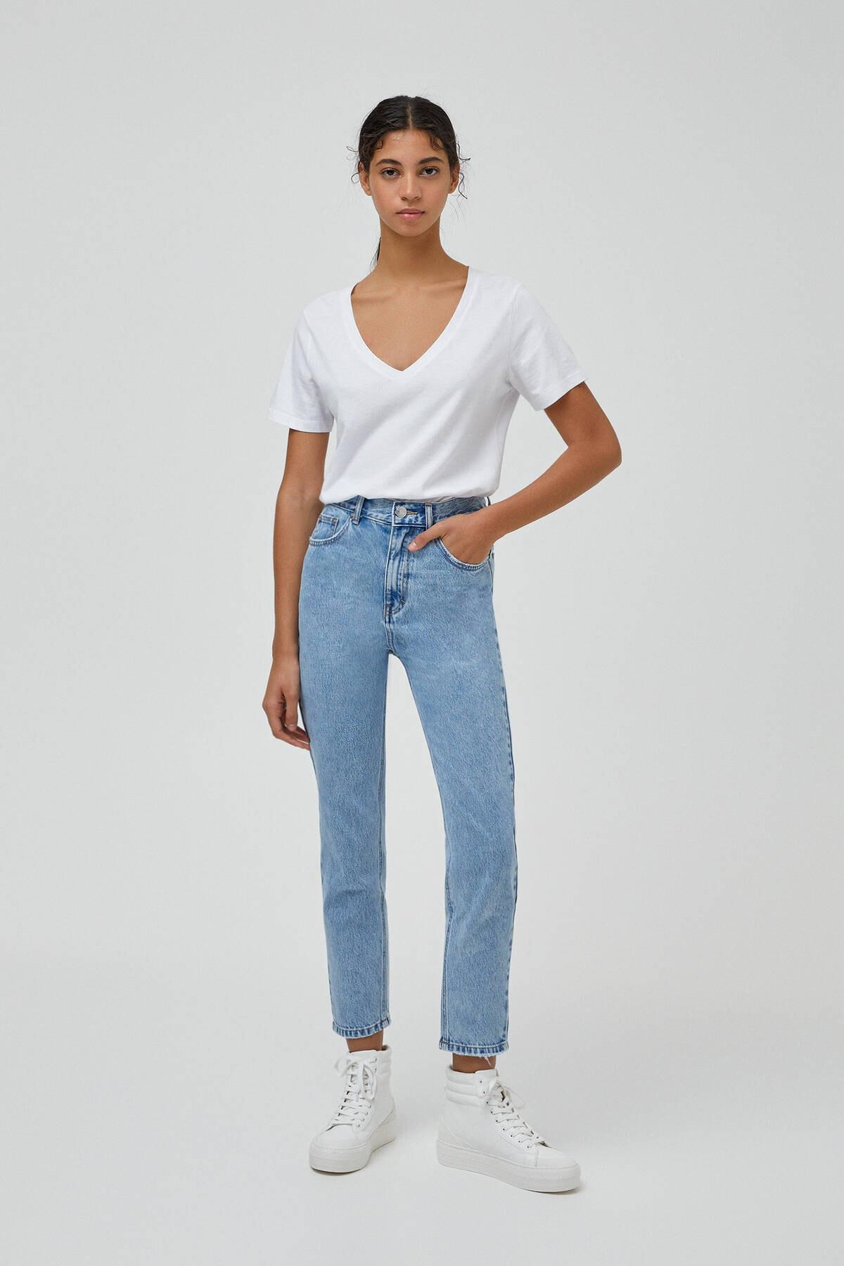 Pull & Bear Kadın Açık Mavi Mom Fit Basic Jean 1