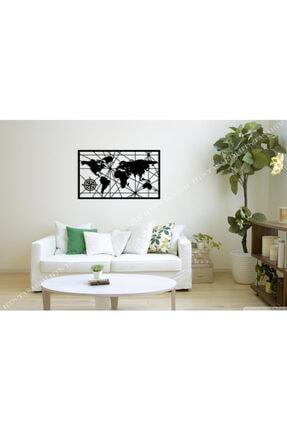 HTS TASARIM Dünya Haritası Duvar Süsü 90x50cm - Ahşap Dekoratif Modern Duvar Tablosu Lazer Kesim