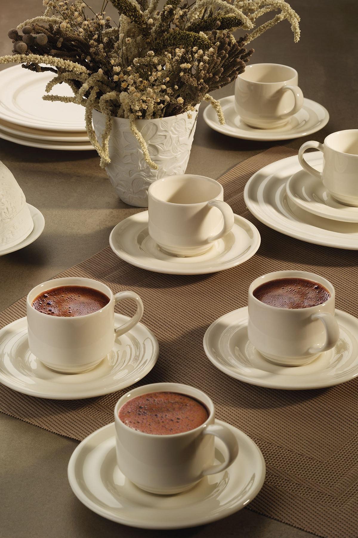 Kütahya Porselen Tuvana Kahve Takımı Krem 1