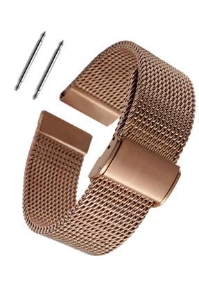 Trendburada Samsung Galaxy Watch 3 41mm Saat Uyumlu Kahverengi Renk Paslanmaz Çelik Hasır Saat Kordonu