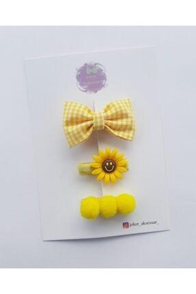 Joker Accessory Sarı Ponponlu Bebek Çocuk Toka Set