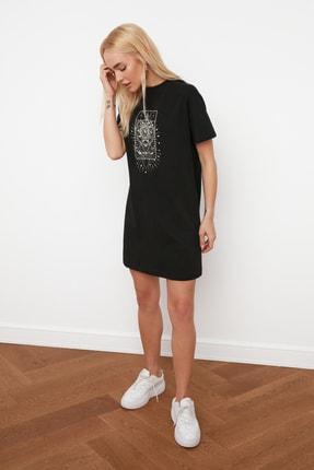 TRENDYOLMİLLA Siyah Baskılı Örme Elbise TWOSS20EL3278