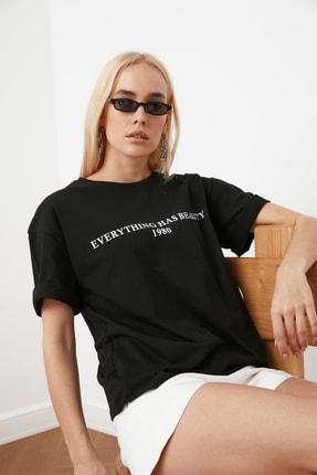 TRENDYOLMİLLA Siyah Baskılı Loose Kalıp Örme T-Shirt TWOSS19GH0034