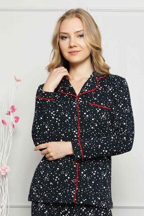 ALİMER Kadın Kırmızı Biyeli Yıldız Desenli Önden Düğmeli Kadın Pijama Takımı - 2536uk