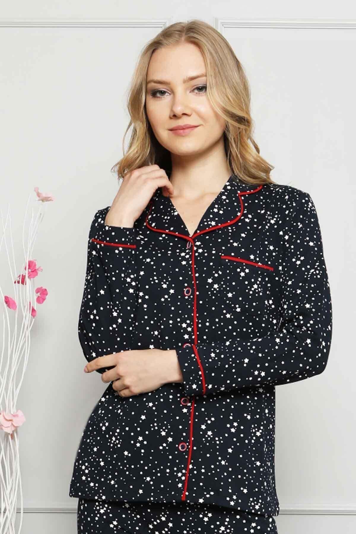 ALİMER Kadın Kırmızı Biyeli Yıldız Desenli Önden Düğmeli Kadın Pijama Takımı - 2536uk 1