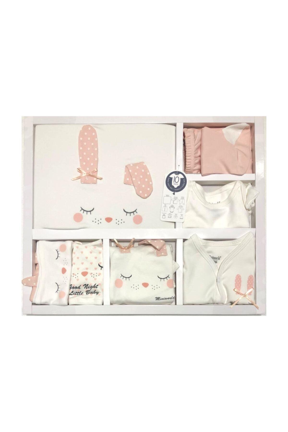 Miniworld Kız Bebek Pembe Beyaz Kız Uyuyan Tavşan 10 Parça Hastane Çıkışı Zıbın Seti 1