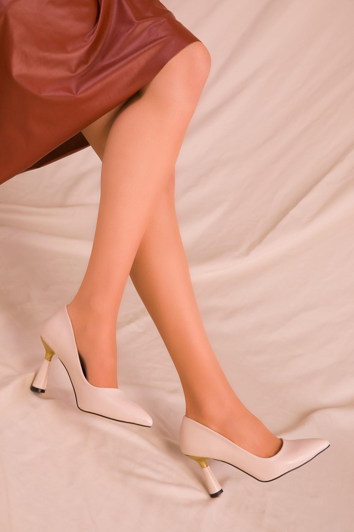 SOHO Bej Kadın Klasik Topuklu Ayakkabı 15783 2