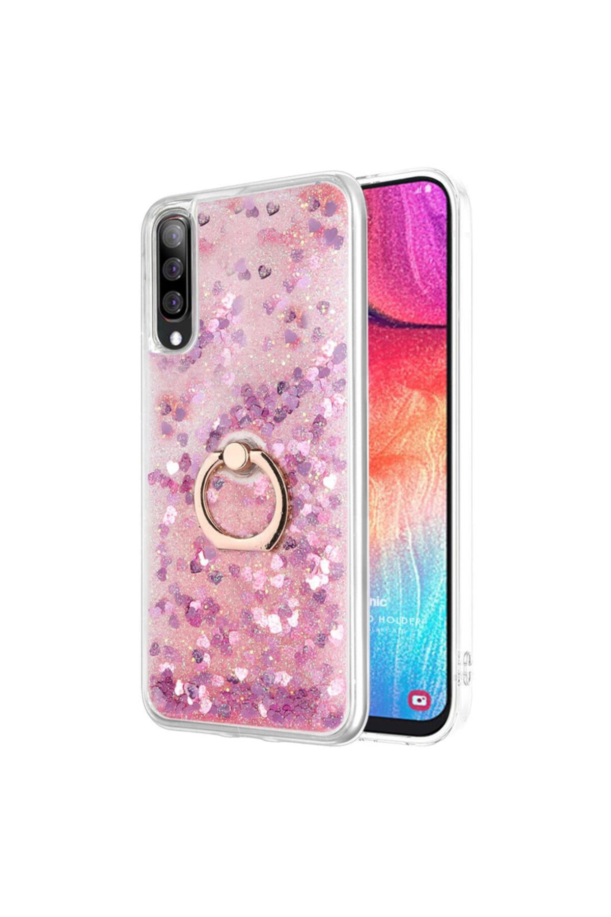 Microsonic Samsung Galaxy A50 Kılıf Glitter Liquid Holder Pembe 1