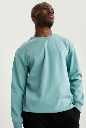 DeFacto Erkek Yeşil Oversize Fit Bisiklet Yaka Pamuklu Basic Sweatshirt