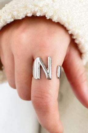 TAKIŞTIR Gümüş Renk Harfli Metal Ayarlanabilir Yüzük