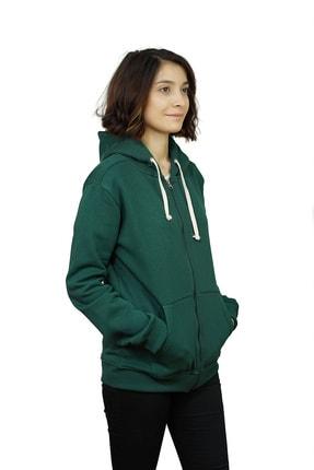OG Casual Kadın Yeşil Fermuarlı Kapüşonlu Sweatshirt