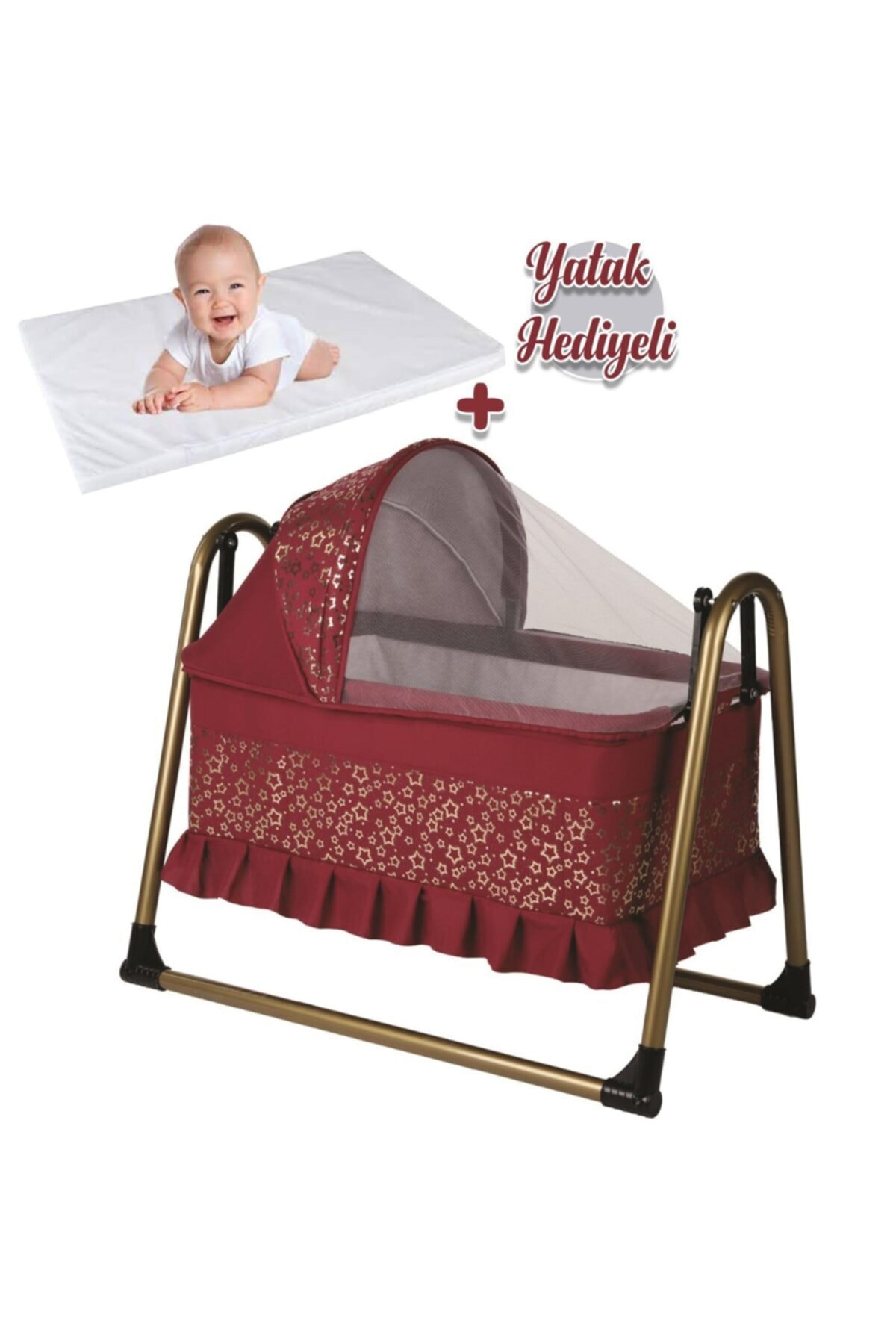 bebegen Gold Portatif Sallanır Bebek Beşik Bordo 1
