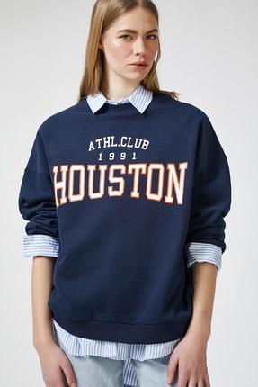 Happiness İst. Kadın Kobalt Mavi Baskılı Polarlı Sweatshirt HF00169