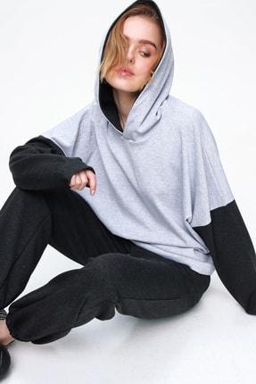 Trend Alaçatı Stili Kadın Antrasit Renk Bloklu Kapüşonlu Eşofman Takım ALC-507-520-NS