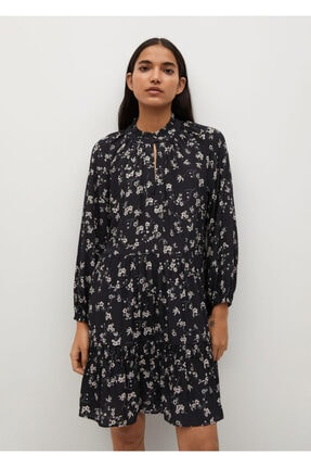 MANGO Woman Desenli Ve Fırfırlı Elbise