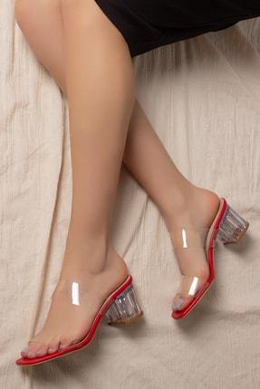 Daxtors D0085 Kadın Kırmızı Şeffaf Bant&şeffaf Topuklu Ayakkabı