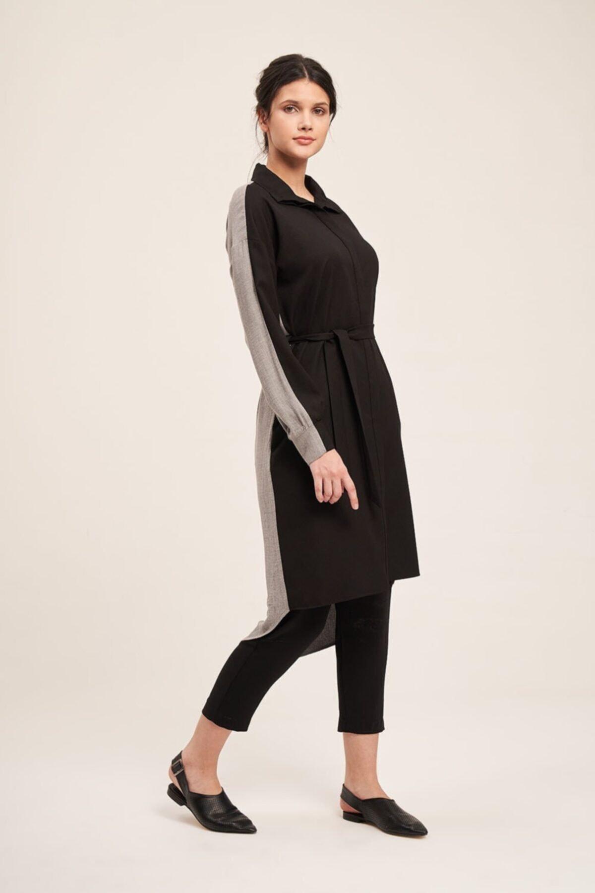 Mizalle Çift Renkli Tunik Elbise (Gri/siyah) 1