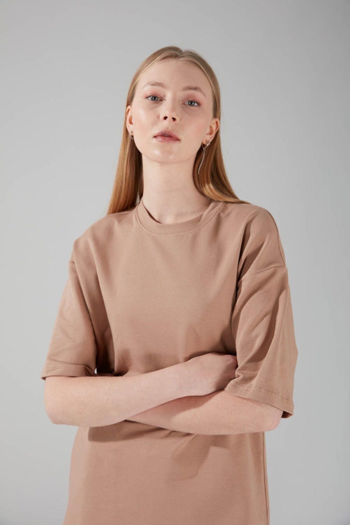 Mizalle Kadın Bej Iki Iplik Kısa Kol T-Shirt 2