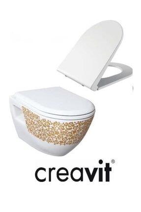 Creavit Tp325 Terra Asma Klozet Çiçek Altın Dekorlu Asma Klozet + Duck Yavaş Kapanır Kapak