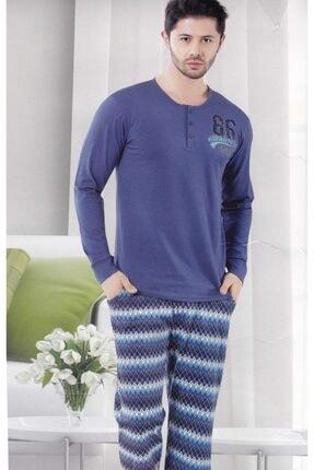 Çekmece Erkek Mavi Desenli Uzun Kol Pamuklu Pijama Takım 9005