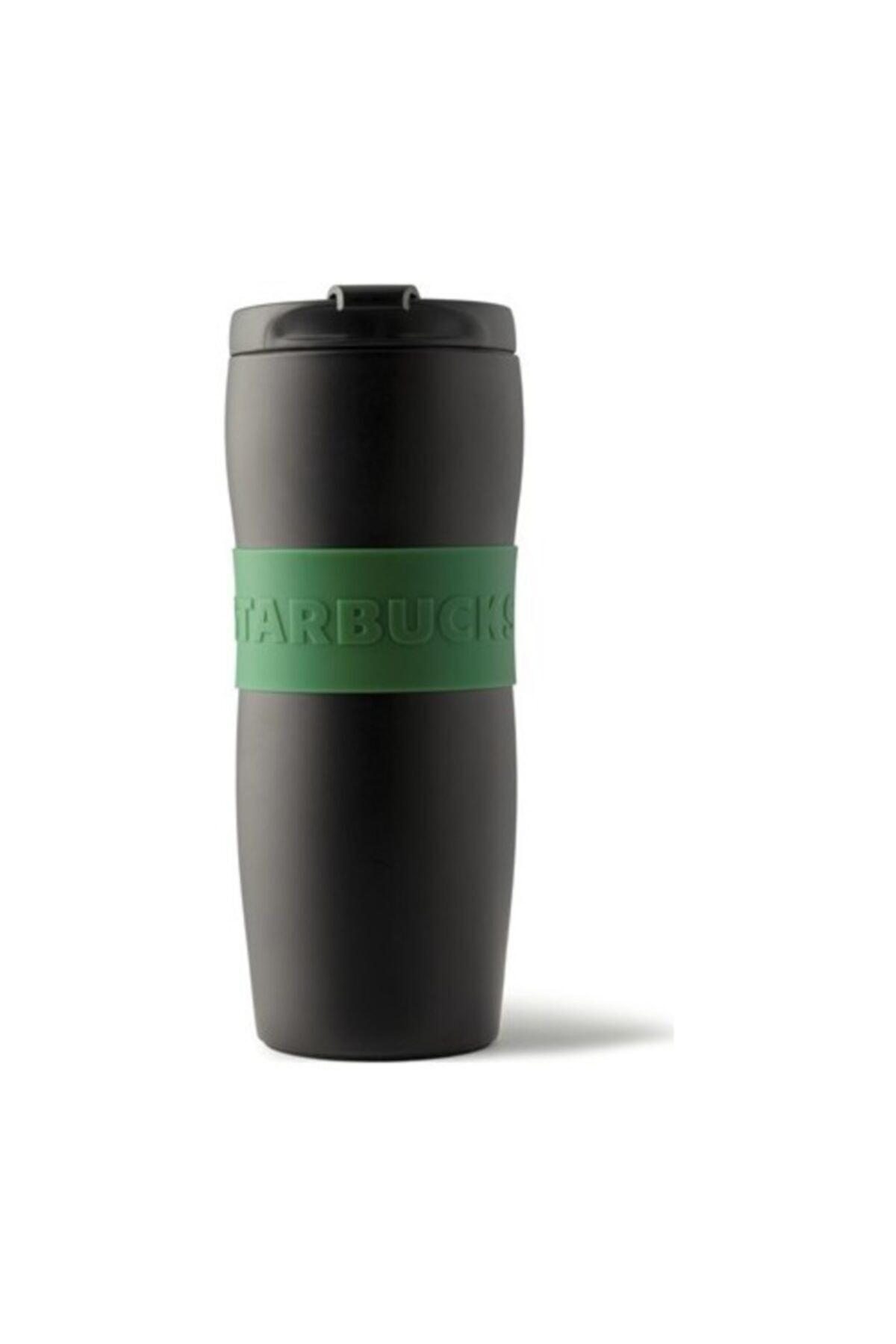 Starbucks Siyah Renkli Yeşil Lastikli Termos - 355 Ml 1