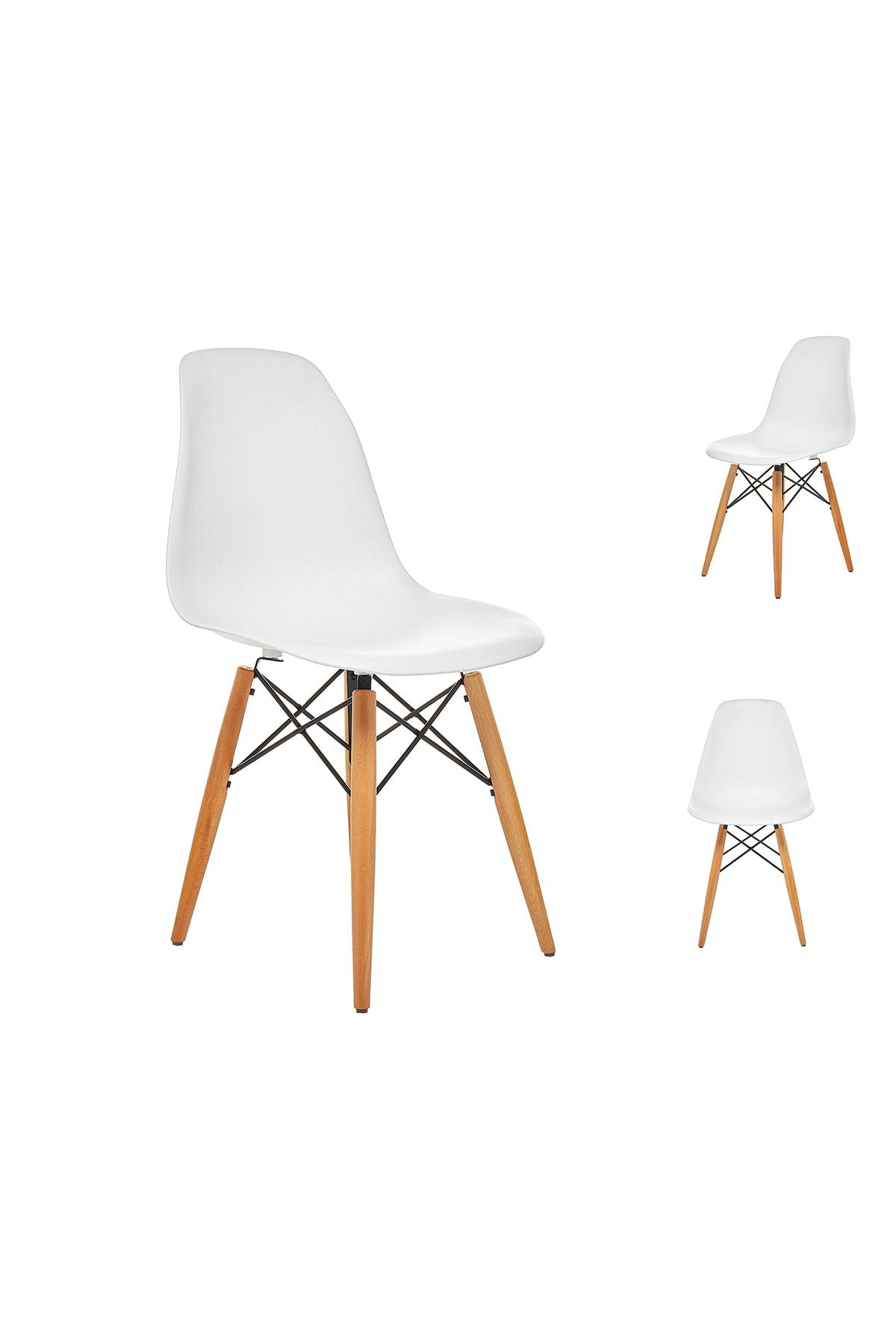 Seduna Beyaz Eames Sandalye Natural Ahşap Ayaklı   2 Adet 1