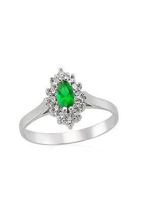 Gumush Gümüş Yeşil Taşlı Bayan Yüzük