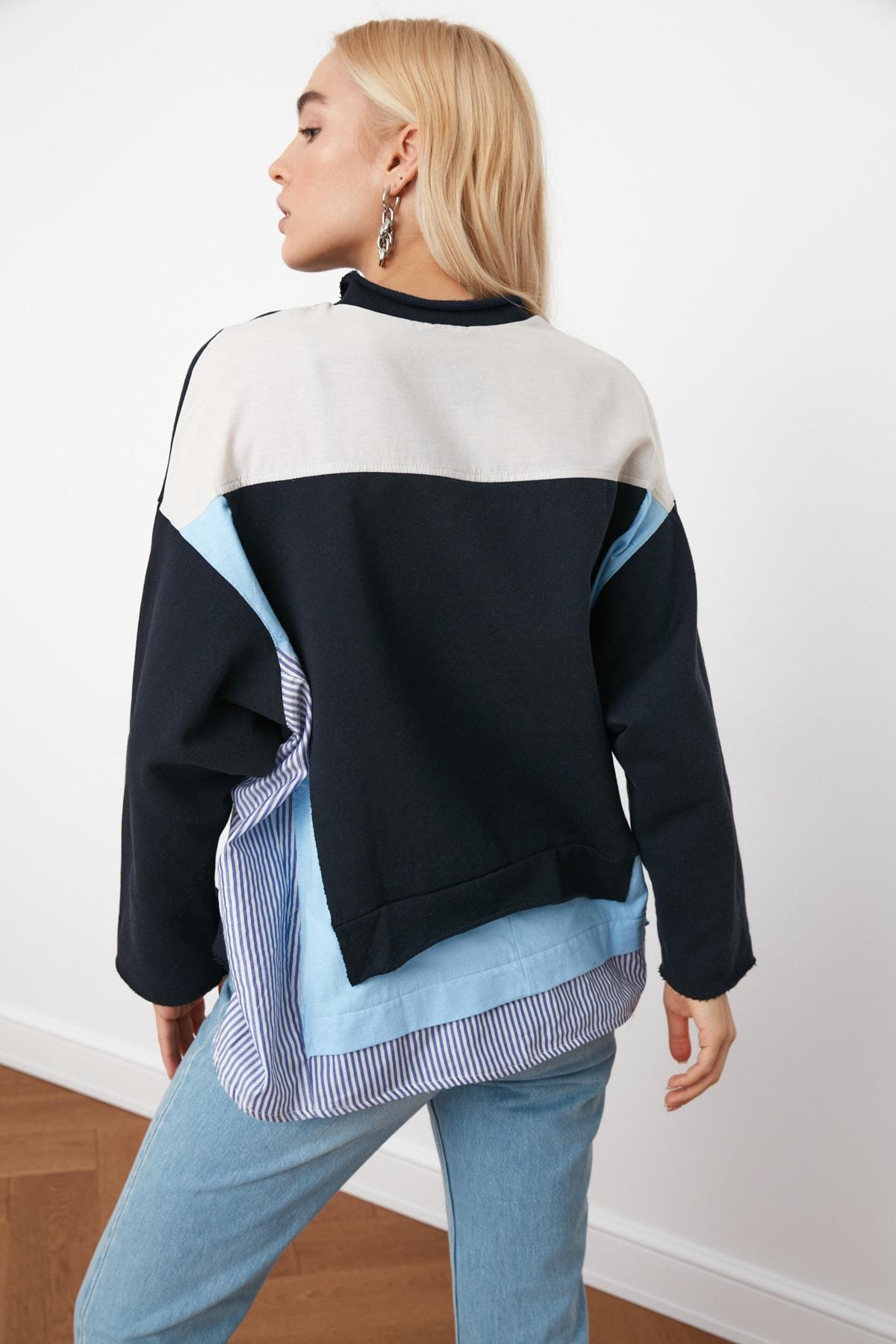 TRENDYOLMİLLA Lacivert Renk Bloklu Salaş Örme Sweatshirt TWOSS20SW0087 2