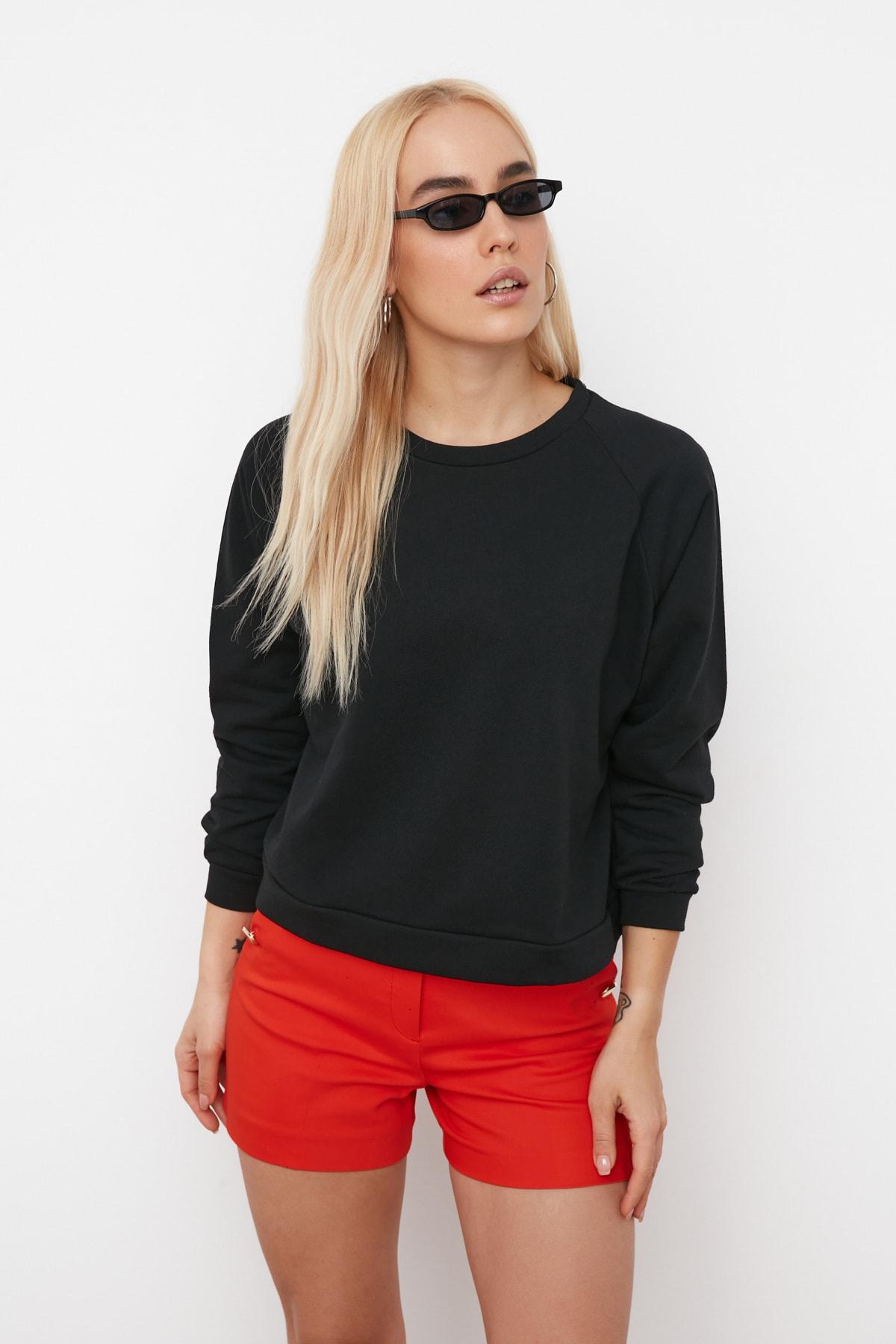 TRENDYOLMİLLA Siyah Reglan Kol Basic Örme Sweatshirt TWOAW20SW0055 2
