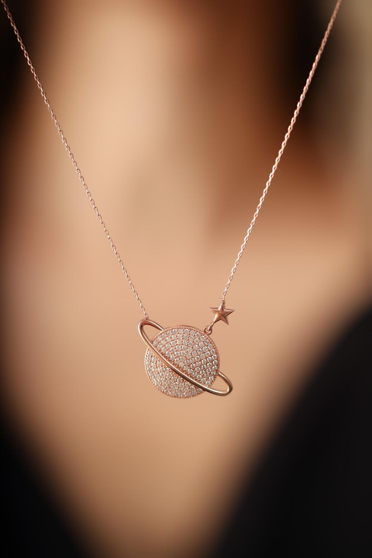 İzla Design Kadın Gezegen Yıldız Model Zirkon Taşlı Gümüş İtalyan Kolye 1