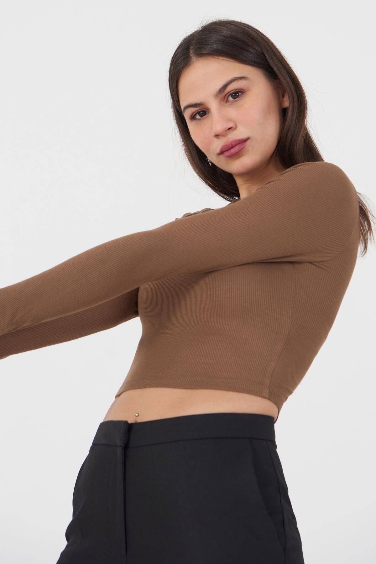 Addax Kadın Kahve Uzun Kollu Bluz P1017 - K12 Adx-0000022662