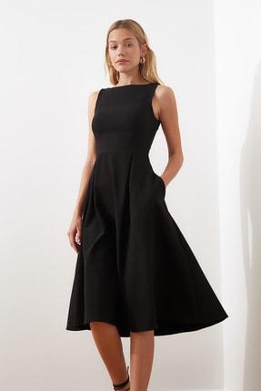 TRENDYOLMİLLA Siyah Pileli Elbise TWOSS20EL0980