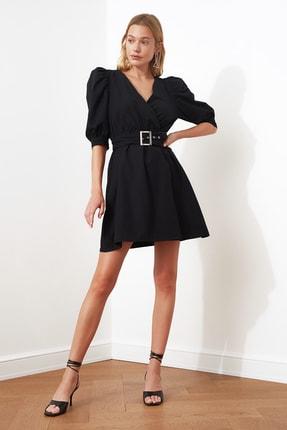 TRENDYOLMİLLA Siyah Kemerli Balon Kol Elbise TWOSS20EL0619