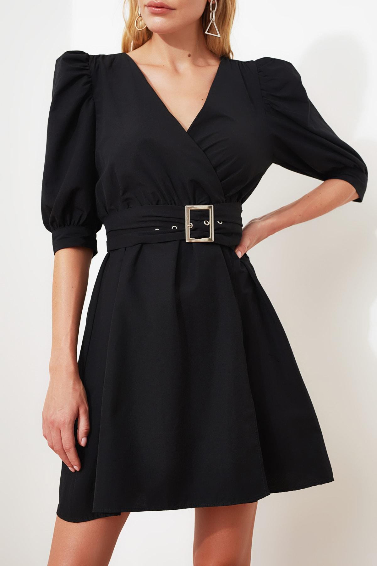 TRENDYOLMİLLA Siyah Kemerli Balon Kol Elbise TWOSS20EL0619 2