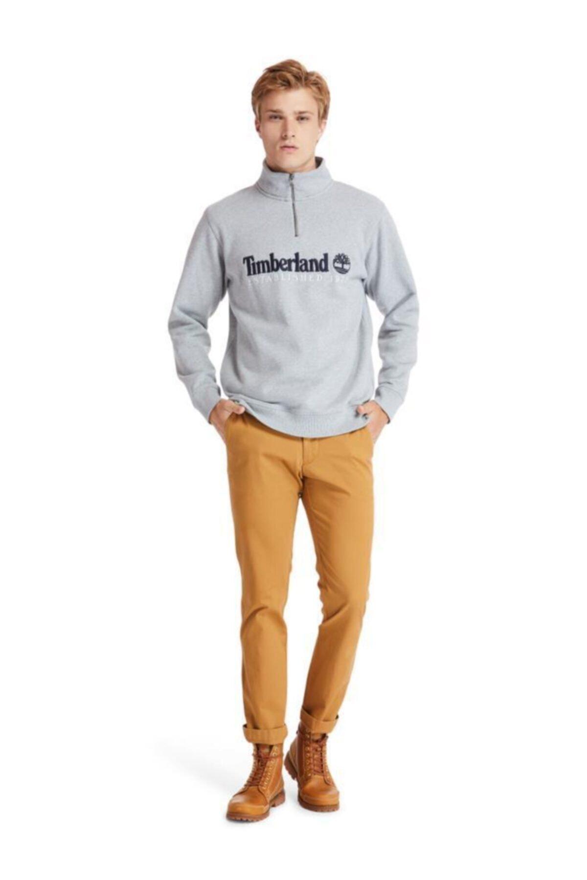Timberland Outdoor Heritage Est.1973 Yarım Fermuarlı Erkek Sweatshirt Gri 1