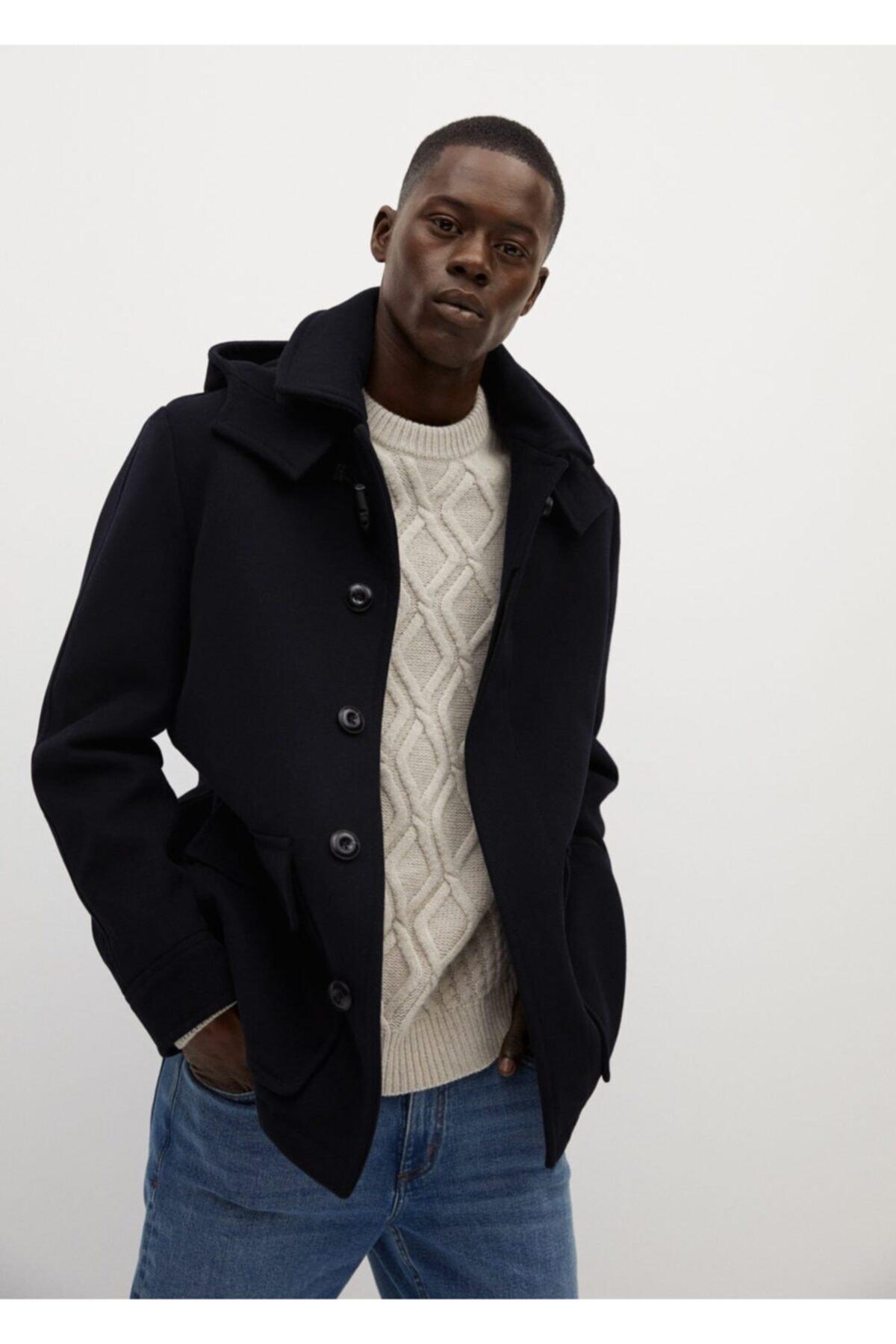 MANGO Man Erkek Çıkarılabilir Kapüşonlu Yün Palto 1