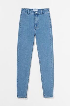 Bershka Kadın Mavi Süper Yüksek Bel Jegging Jean