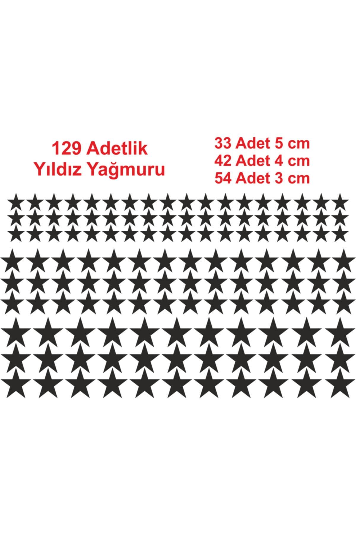 Oracal 129 Adetlik Yıldız Yağmuru Sticker, Siyah Renk, Çocuk Odası Sticker, Dekorasyon 2