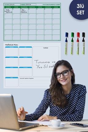 Tutunabilir Kağıt Aylık Planlayıcı - Haftalık Planlayıcı Takvim - 4 Lü Kalem Set Yazı Tahtası Akıllı Kağıt Tahta