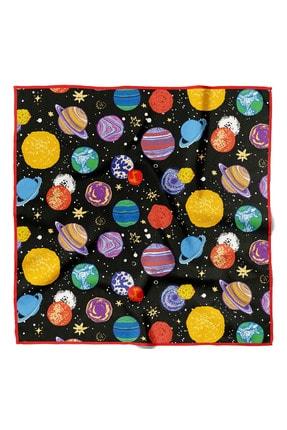Modabutik Kadın Gezegen Desenli Bandana 50x50 Siyah Sarı Mavi Dg0373-22 Dg5237-22